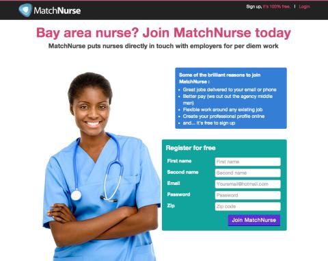 Matchnurse homepage